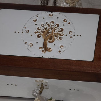 Lock box. LARGER CHEST. White, Gold and Rosewood jewellery treasure chest.  Gold Tree. Box Can be personalised.  Lockable box. Tree of Life