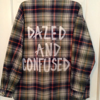 "Plaid flannel ""Dazed and Confused"" hand painted shirt // soft grunge"