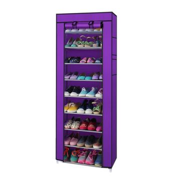 Portable 10 Layer 9 Grid Shoe Rack Shelf Storage Closet Organizer Cabinet Purple