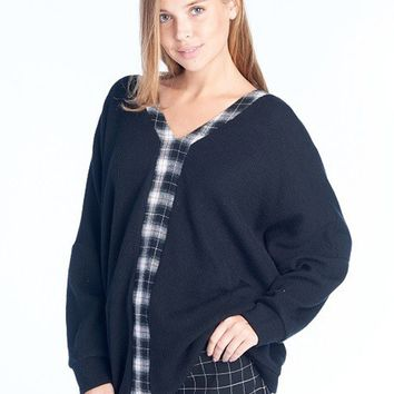 V-Neck Tie Back Sweater in Black