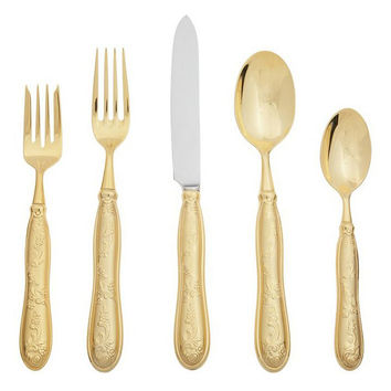 20-Pc Botticelli Gold Satin Flatware Set, Dinner Serving Utensils