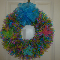 Spring butterfly wreath, pink, green, yellow, blue