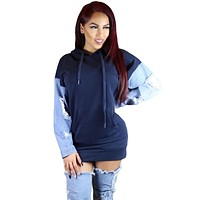 Denim Splits Sleeves Hoodie Dress