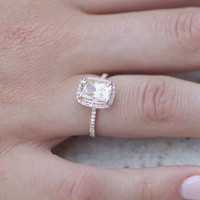 2.31ct Cushion champagne peach sapphire 14k rose gold diamond ring engagement ring