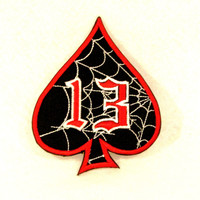 Spider Web 13 Spade Red white on black Small Badge Patch for Biker Vest SB804