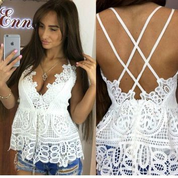 VONE2B5 Summer Women Deep V Neck White Lace Bralette Tank Top Sexy Spaghetti Strapless Backless White Blouse Blusa