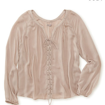 Cape Juby Sheer Lace Up Swing Top