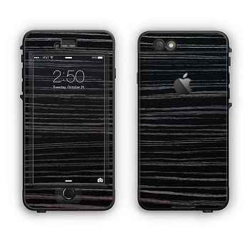 The Black Wood Texture Apple iPhone 6 LifeProof Nuud Case Skin Set