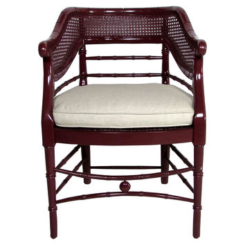 Faux-Bamboo & Cane Lacquered Club Chair
