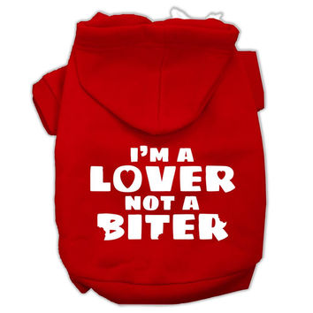I'm a Lover not a Biter Screen Printed Dog Pet Hoodies Red Size XXL (18)