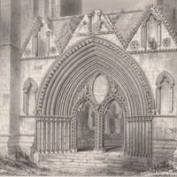 Antique Print Western Doorway of Elgin Cathedral (A63) by Grandpa's Market