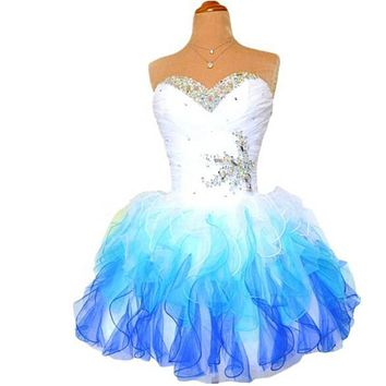 Homecoming Dress Short Prom 2016 New Pageant Dresses Graduation Party Gown A Line Sweet-heart Beads Blue Tulle Real Photos