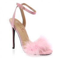 Lulu Baby Pink Faux Suede Fluffy Heeled Sandals