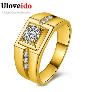 Fashion 18K Gold Plated Silver CZ diamond wedding Rings for Men Vintage Jewelry Crystal Engagement Rings Aneis anillos 2016 J473
