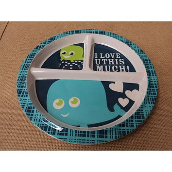 Standard Baby Toddler Plate 8 1/2in x 3/4in Blues Whale Pattern Plastic -- Used