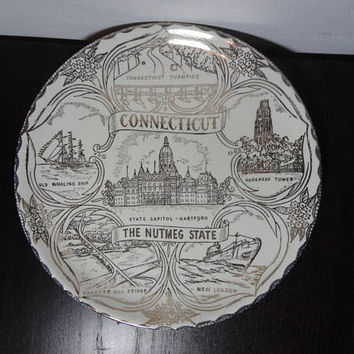 "Vintage Connecticut ""The Nutmeg State"" Ceramic State Souvenir Plate with Gold Print - Mid Century Modern"