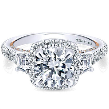 "Gabriel Amavida ""Verline"" Cushion Halo with Side Baguettes Diamond Engagement Ring"