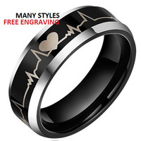 Top Quality TUNGSTEN Carbide Wedding Band, 8MM Forever Love Ring