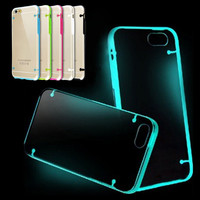 Ultra Thin Transparent Clear Case Novelty Luminous Cover for iphone 6 6s 6 plus Candy Color Fluorescence TPU Rubber Black Case