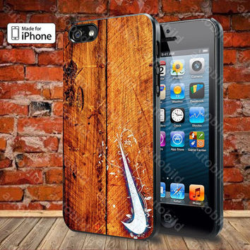 Nike Logo in Wood Case For iPhone 5, 5S, 5C, 4, 4S and Samsung Galaxy S3, S4