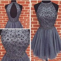 Sexy A Line Halter Beaded Short Cocktail Dress Tulles Homecoming Above Knee Mini Sleeveless Formal Party Gowns Cocktail Dresses