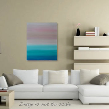 Minimalist Seascape Pastel Beach Ocean Sunset Painting - Canvas Acrylic Wall Art Decor - Turquoise, Pink - 24 x 30 Vertical - FREE SHIPPING