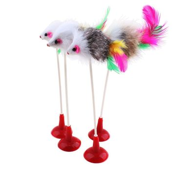 Hot 1pcs Funny Pet Cat Toys Feather False Mouse Bottom Sucker Cat Kitten Playing Toys Pet Seat Scratch Toy 20cm Free shipping