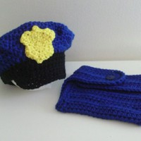 Newborn Police Hat and Diaper Cover Set
