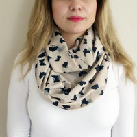 Butterfly Scarf Beige Navy Blue infinity Loop Scarf, Women Accessories