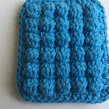 Cotton Dish Sponge, Light and Dark Blue, Crochet Pot Scrubber, Kitchen Dish Sponge, Reusable Sponge