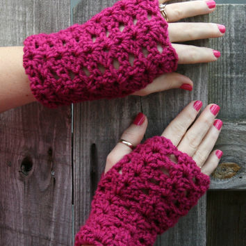 Pink fingerless gloves, hand warmers, arm gauntlets, winter accessory