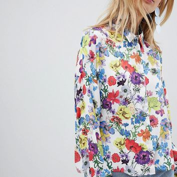 ASOS DESIGN cropped shirt in spring floral at asos.com