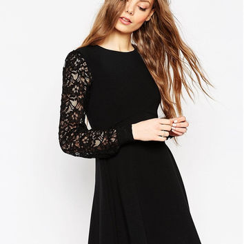Black Long Sleeve Lace Knit Dress