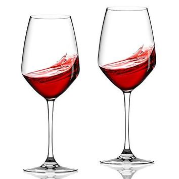 Lovinpro Hand Blown Wine Glass Set of 2100 Lead Free Long Stem Red BordeauxCabernet Wine Glasses 21 oz ??????Crystal Clear Glassware Great Gift for Wine Lover
