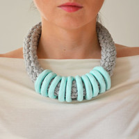 Knit Necklace, Yarn Necklace, Fabric Necklace, Mint Necklace, Textile Necklace