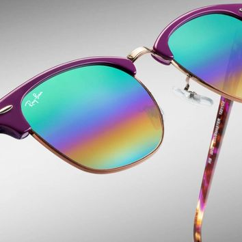 Ray Ban Clubmaster Mineral Flash Sunglasses RB3016 1221C3 Violet Gr Rainbow 51mm