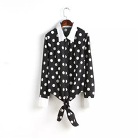 Black Polkadot Long-Sleeve Button Tie-Waist Collared Shirt