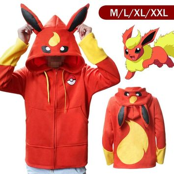 Anime Pokemon Go Pikachu Umbreon Ears Hoodies for Women Men Cosplay Costumes Adult Unisex Hoody Sweatshirt Plus Size M - XXL