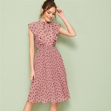 Pink Tie Neck Ruffle Trim Dot Pleated Midi Dress Women Cap Sleeve Stand Collar Fit and Flare Vintage Empire Dresses