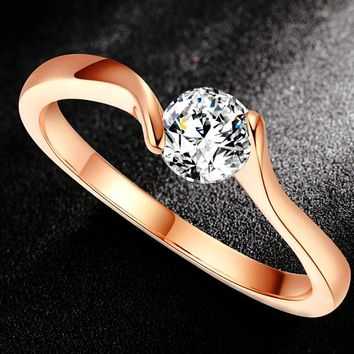 Opulent CZ Diamond Engagement Finger Rings Rose Gold Color