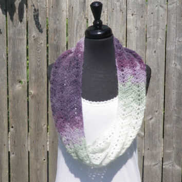 Plum, green and white chevron infinity scarf, cowl scarf