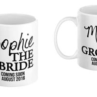 Groom Bride Wedding Announcement Mug Gift Set -Newlyweds Bridal Shower House Warming Gift Bridesmaids Diamond Bow Tie Illustration
