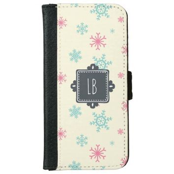 Snowflake Pattern With Fancy Square Personalized Wallet Phone Case For iPhone 6/6s