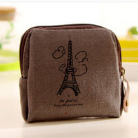 New Cute Kawaii Canvas Paris Woman Coin Purse Vintage Retro Fabric Zero Wallet for Female Girls