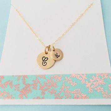 Momma and Baby Initial Necklace, Gold Initial Necklace, Gold Mommy Necklace, Simple Personalized Necklace, Kids Initials
