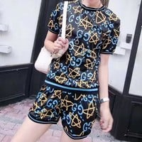 """Gucci"" Women Casual Fashion Letter Star Print Short Sleeve Shorts Set Two-Piece Sportswear"