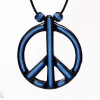 Peace Sign Necklace - Hippie Jewelry - Peace and Love Pendant - Hand Carved Wood Pendant -  Handcrafted Wood CristherArt Jewelry
