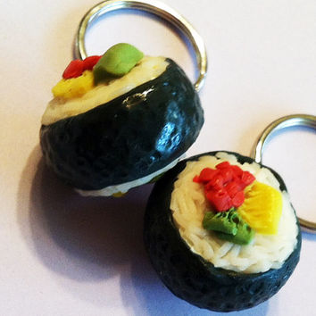 Sushi Roll Key Chain Duo, Polymer Clay Charms, Miniature Food, Best Friend Gifts