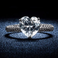 Womens silver heart stone crystal rings jewelry