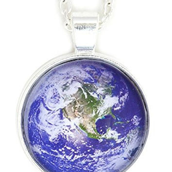 Planet Earth Globe Necklace Silver Tone NW22 Outer Space Orbit World Photo Pendant Fashion Jewelry